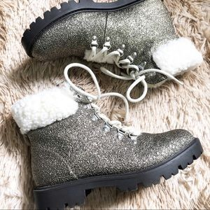 JustFab Faux Sherpa Lined Glitter Combat Boots